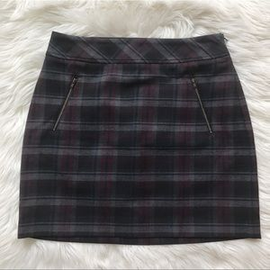 LOFT Purple Plaid Miniskirt